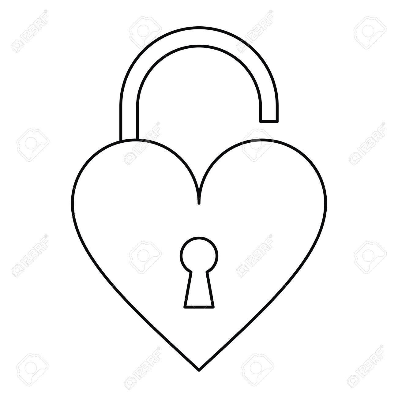 1300x1300 Padlock Open Shaped Heart Loved Outline Vector Illustration Eps