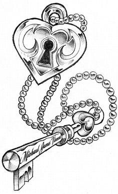 236x386 Collection Of Line Art Lock N Key Tattoo Design