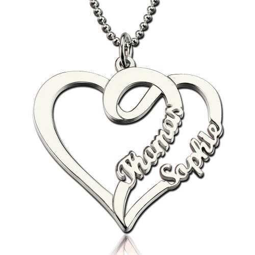 500x500 Double Name Heart Necklace For Couples Valentine's Day Gift