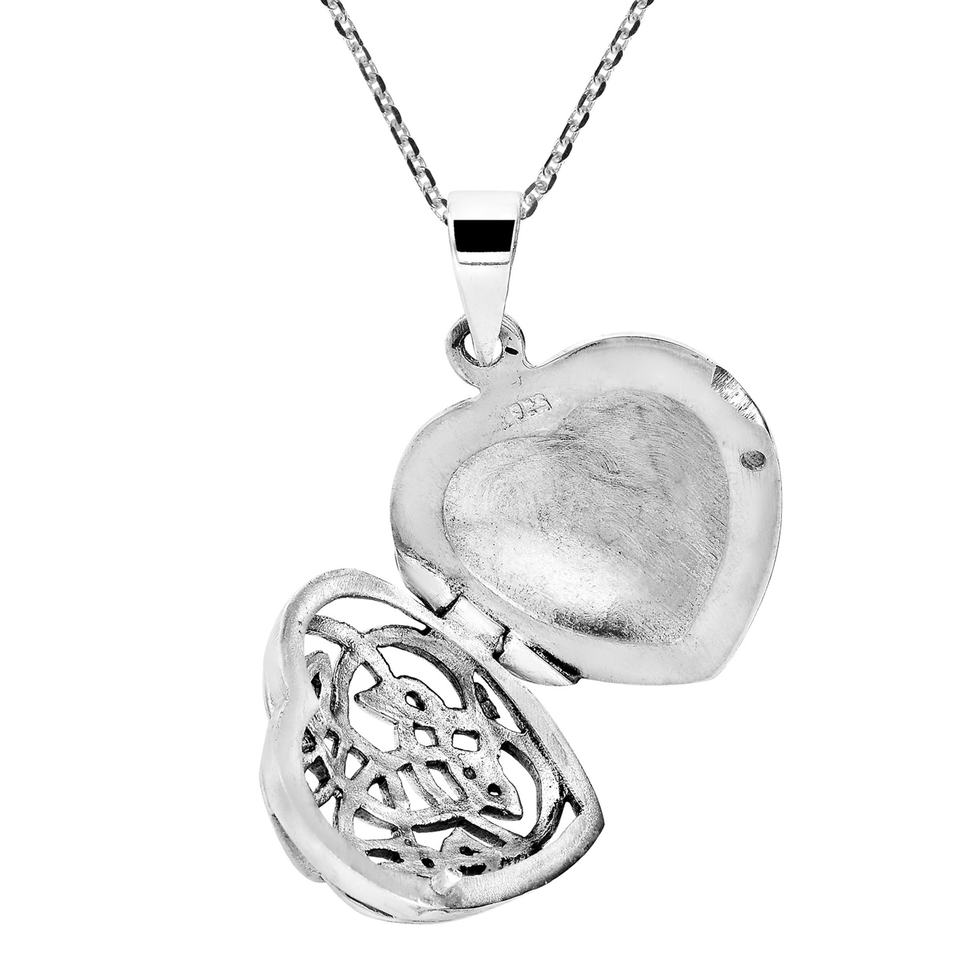 2000x2000 Endless Celtic Knot Heart Locket Sterling Silver Necklace