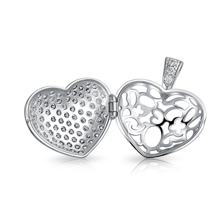 1500x1500 Rhodium Plated Pave Cz Heart Locket Pendant