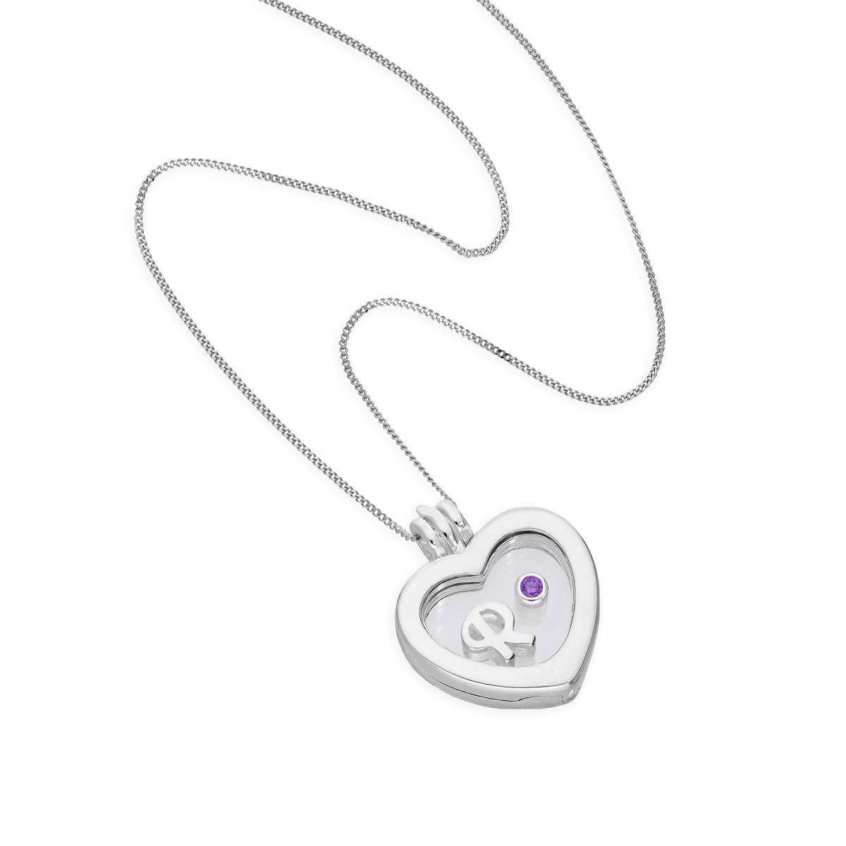 1200x1200 Small Floating Letter Amp Birthstone Charm Heart Locket In Sterling
