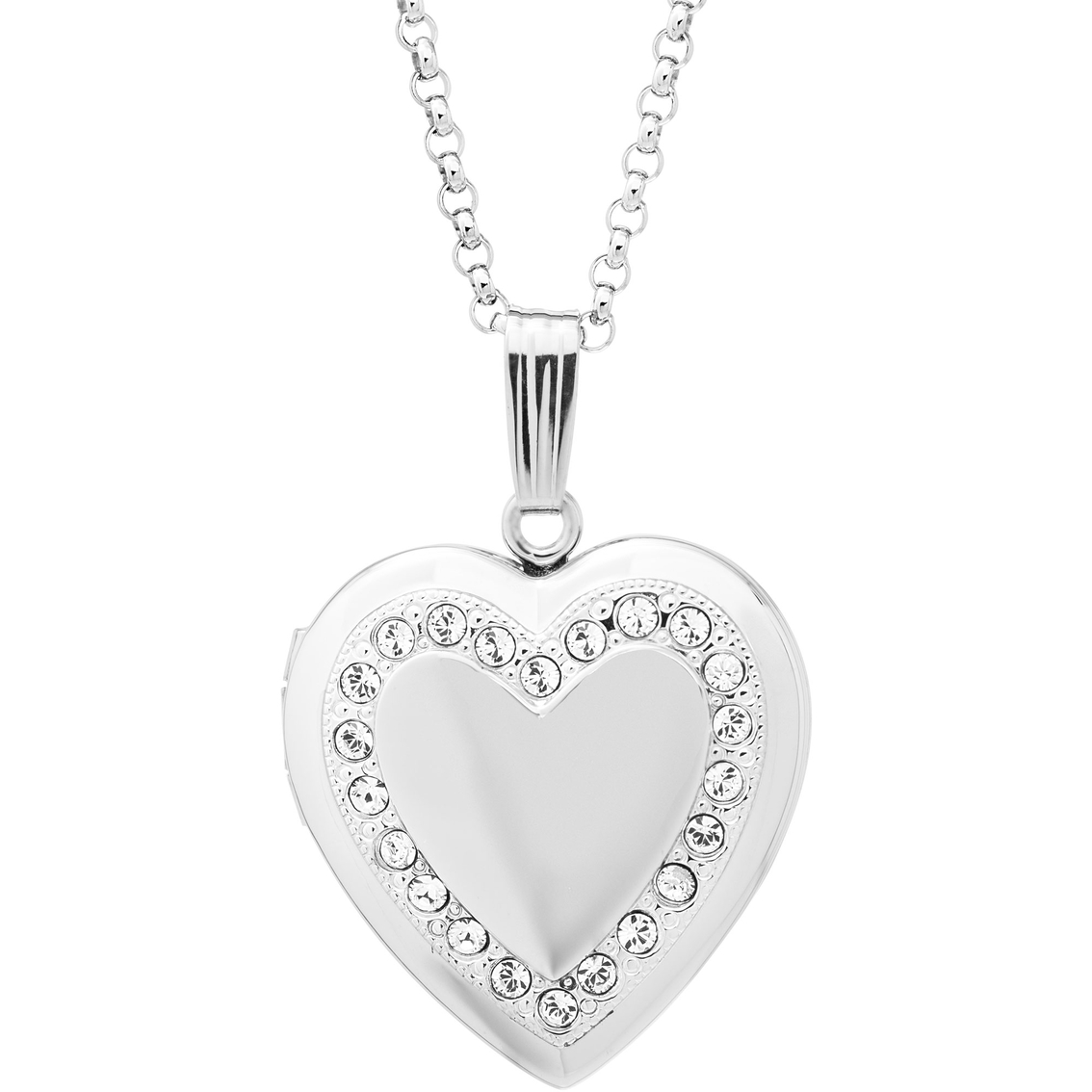 1134x1134 Sterling Silver Heart Shaped Locket With Genuine Austrian Crystal