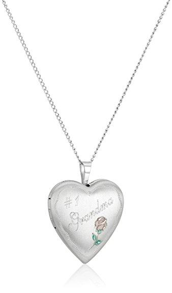 338x575 Sterling Silver Grandma And Rose Heart Locket