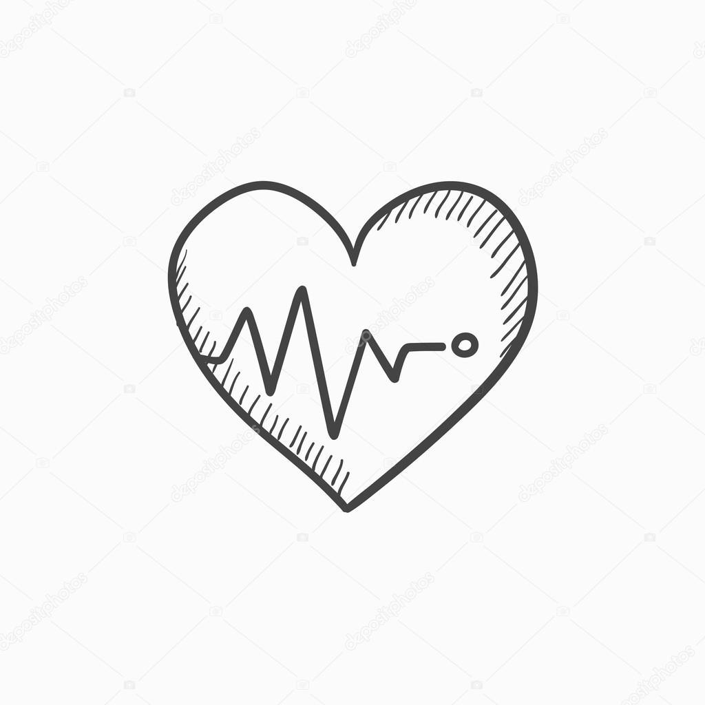 1024x1024 Heart With Cardiogram Sketch Icon. Stock Vector Rastudio