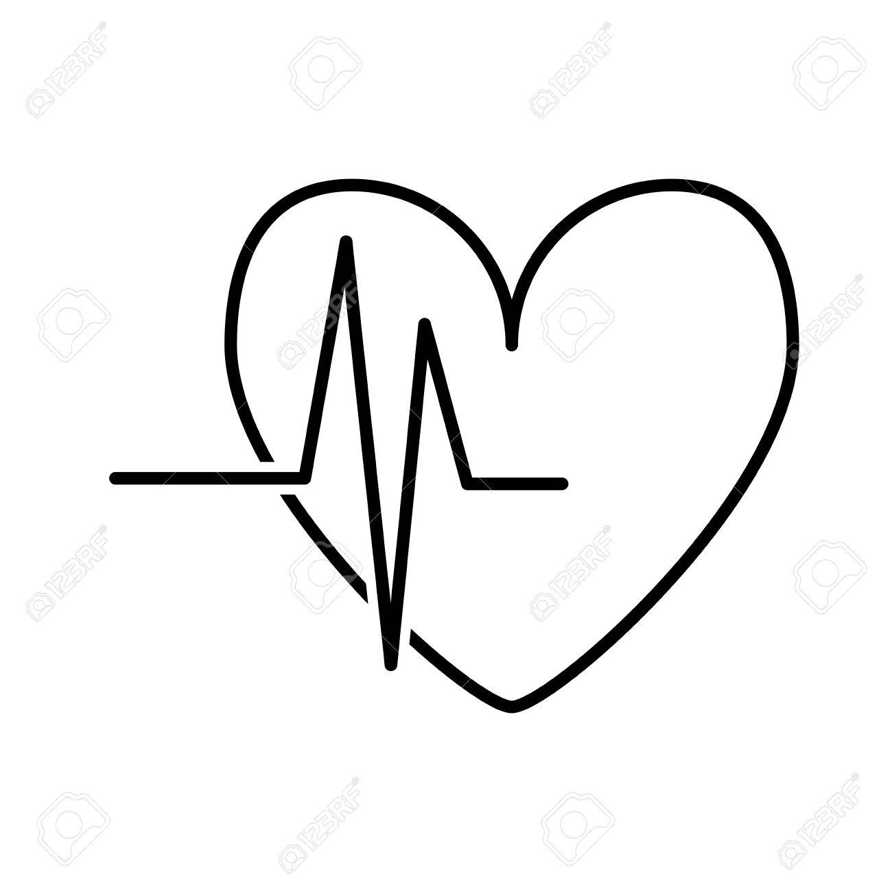 1300x1300 Isolated Heart Rate Linear Design Over White Background , Vector