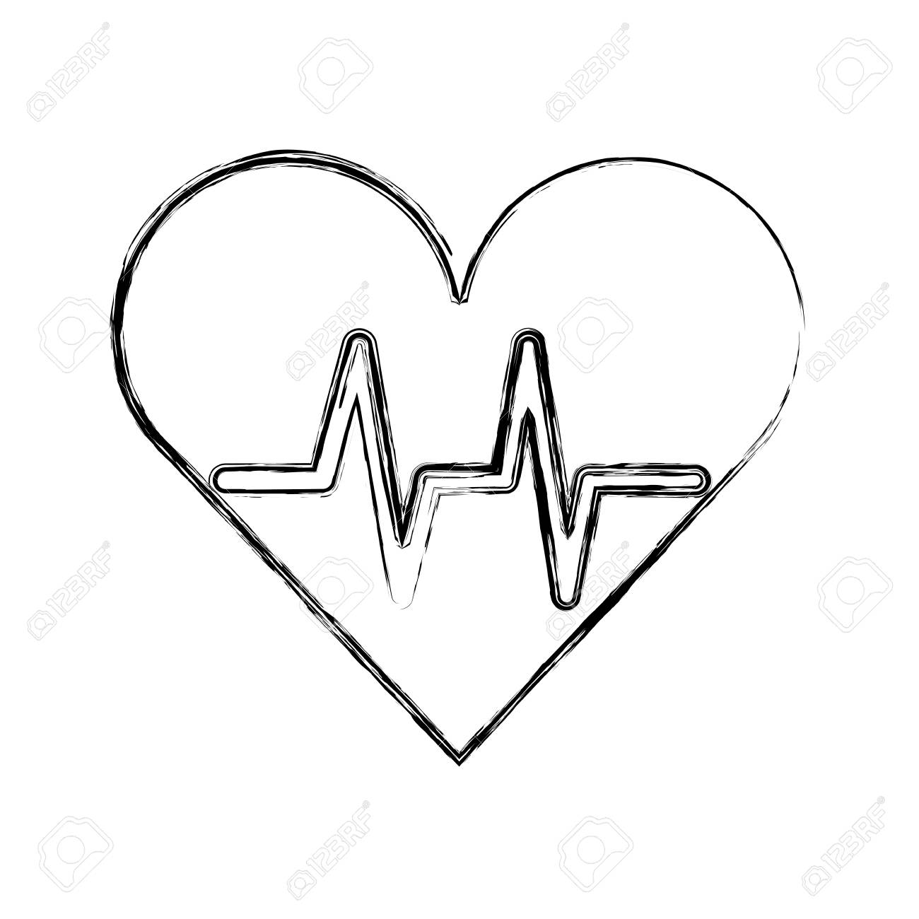 1300x1300 Sketch Draw Heart Beat Pulse Cartooon Vector Graphic Design