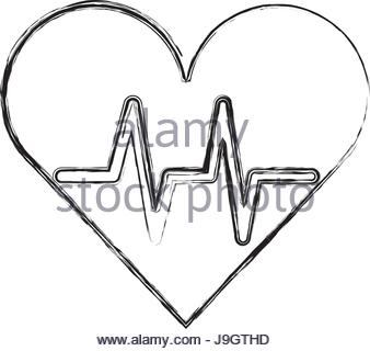 338x320 Sketch Of A Heart And Heart Rate Line Stock Photo 53609671