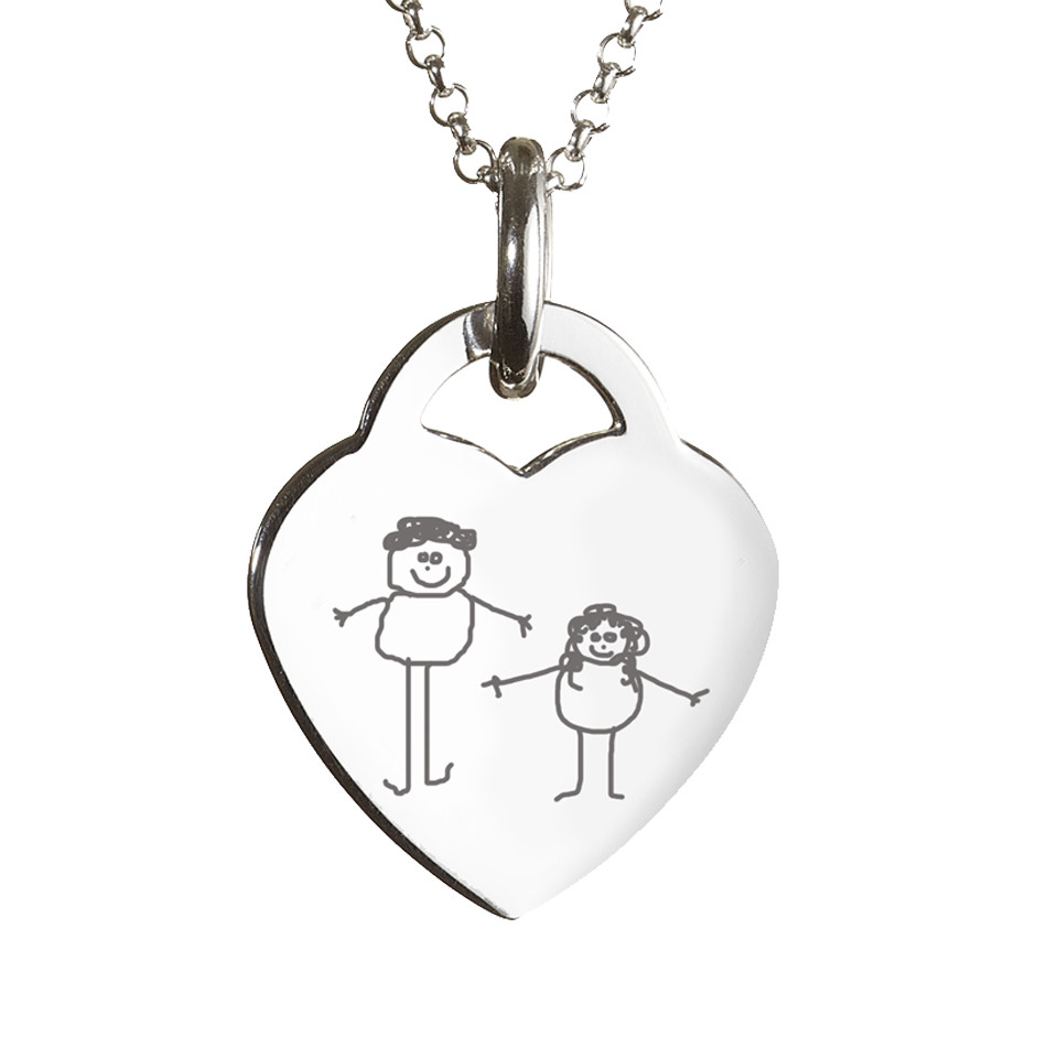 960x960 Engraved Childrens Drawing Heart Necklace Hand On Heart