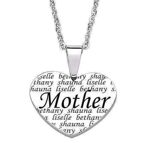 466x466 Everscribe Mother Engraved Family Names Heart Necklace