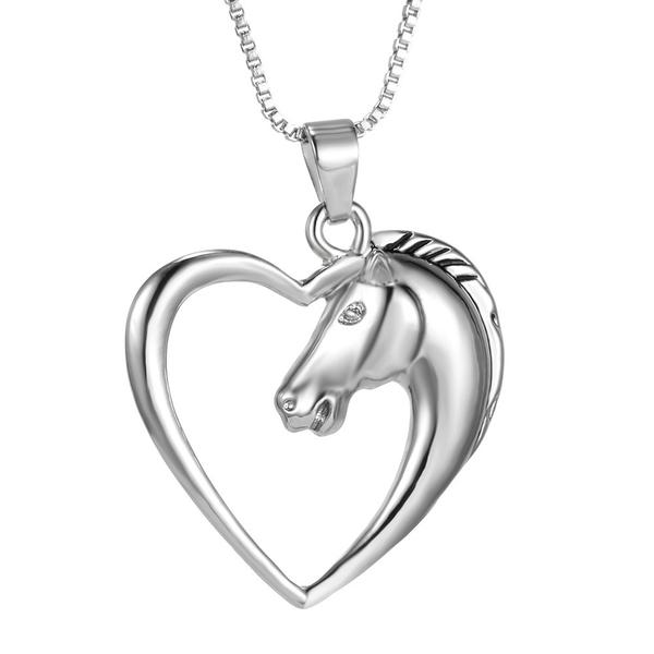 600x600 Fashion Jewelry Plated White K Horse In Heart Necklace Pendant