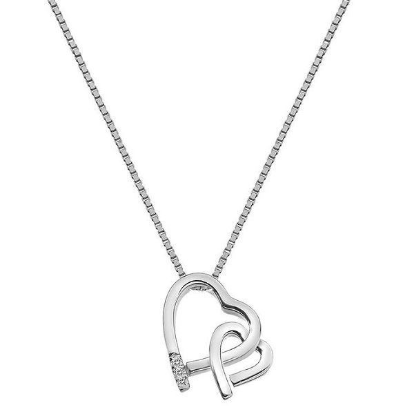 600x600 Hot Diamonds Amore Double Heart Necklace In Silver And Diamond