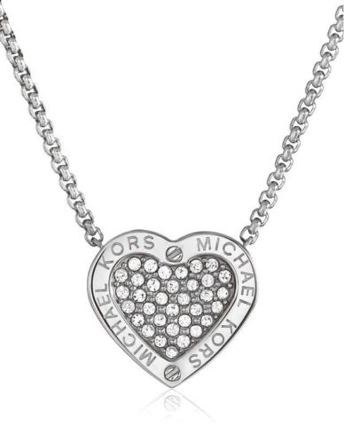 388x500 Michael Kors Silvertone Pave Mk Logo Crystal Heart Necklace