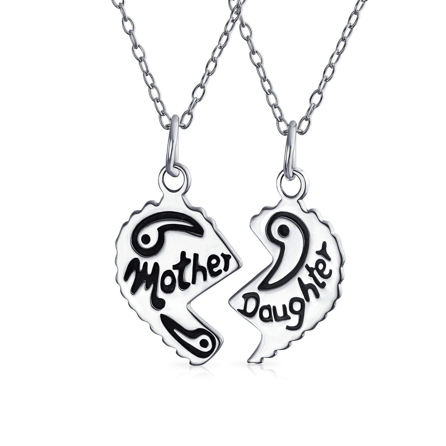 1500x1500 925 Sterling Silver Mother Daughter Split Heart Pendant Set 16in