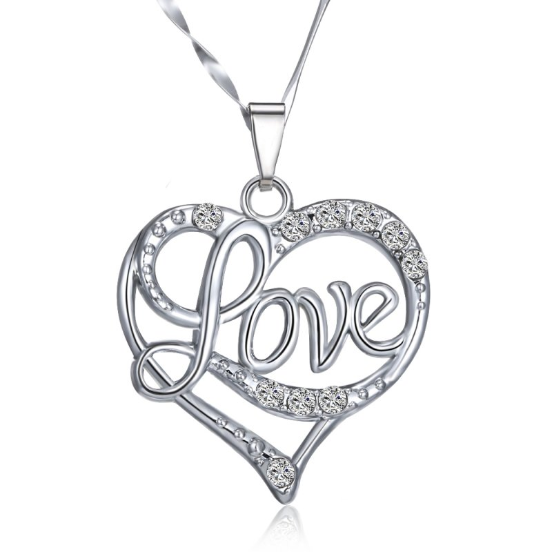 800x800 New Cute Love Heart Crystal Silver Hot Chain Pendant Necklace