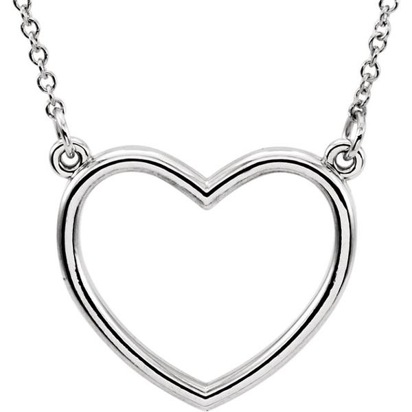 600x600 Platinum Or 14k Gold Or Sterling Silver Heart Cut Out Necklace