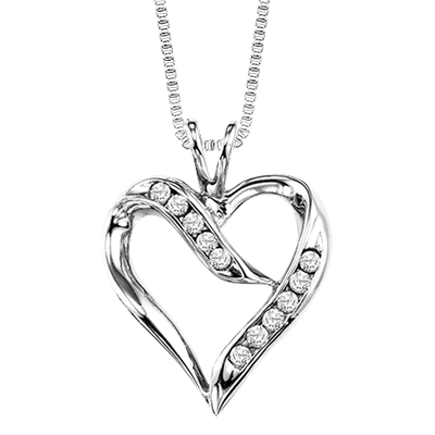 400x400 Silver Diamond Heart Pendant