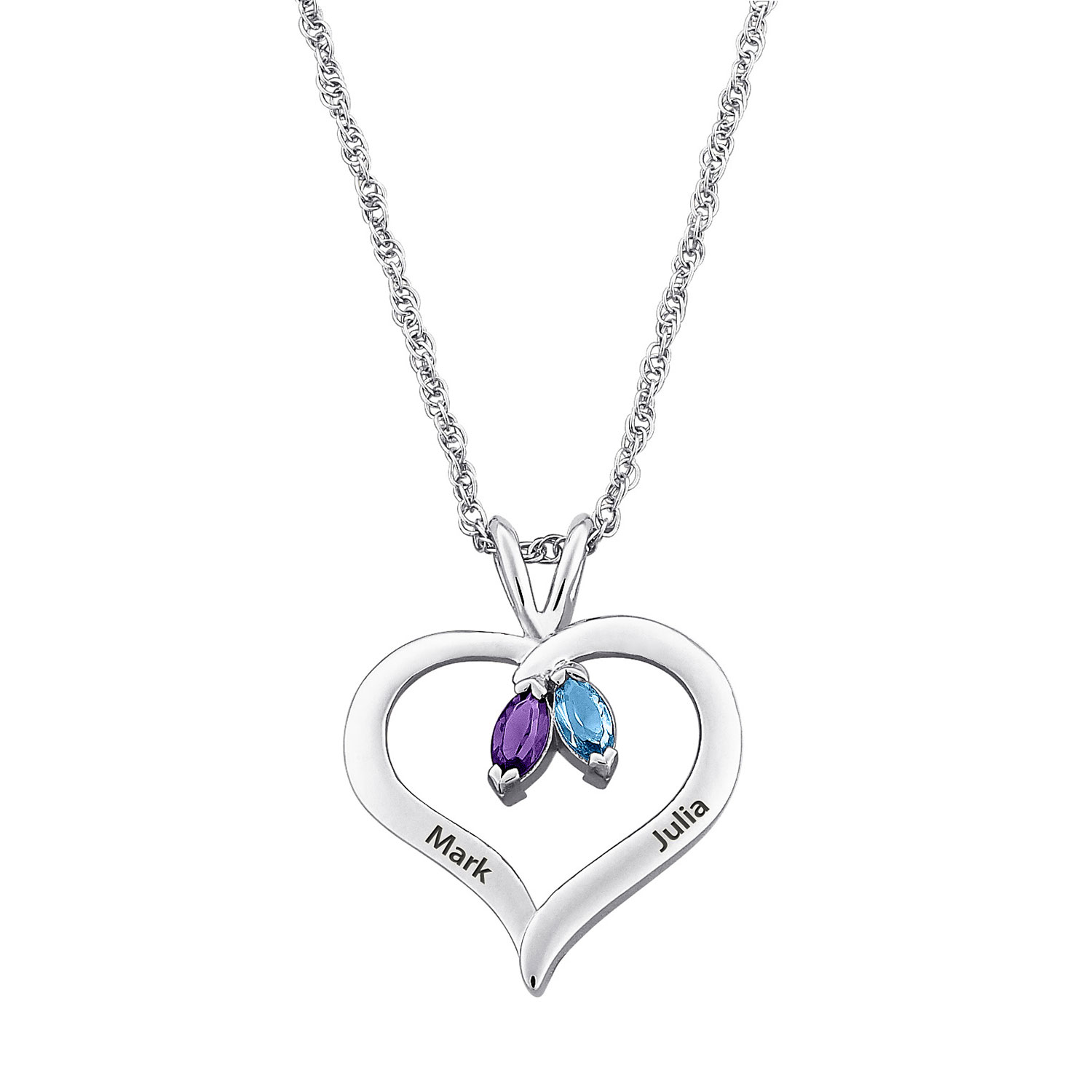 1500x1500 Sterling Silver Couple's Name Amp Marquise Birthstone Heart Necklace