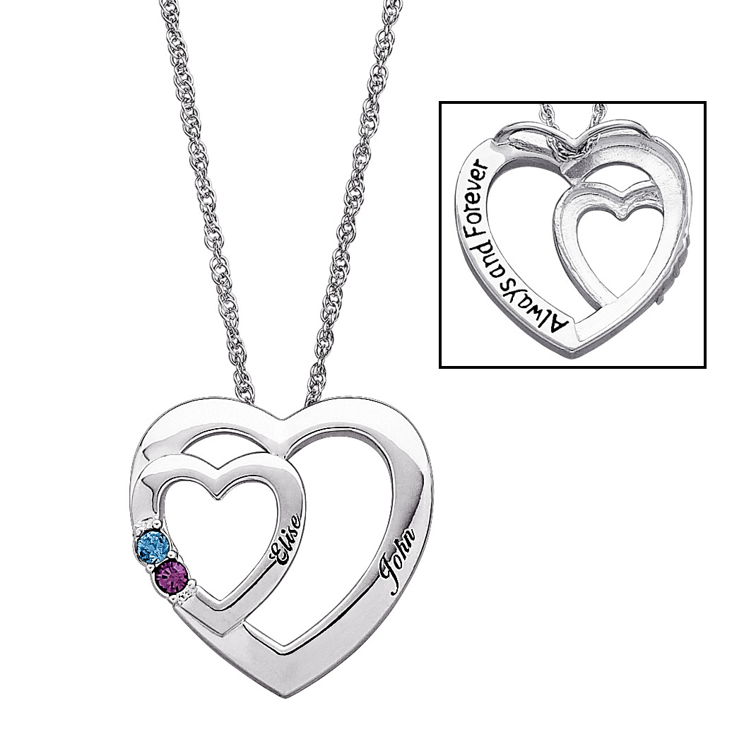 1036x1036 Sterling Silver Couples Name Amp Birthstone Double Heart Necklace
