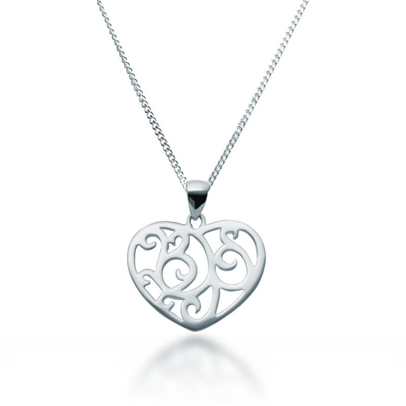 800x800 Sterling Silver Filigree Heart Necklace Zaffre Jewellery Australia
