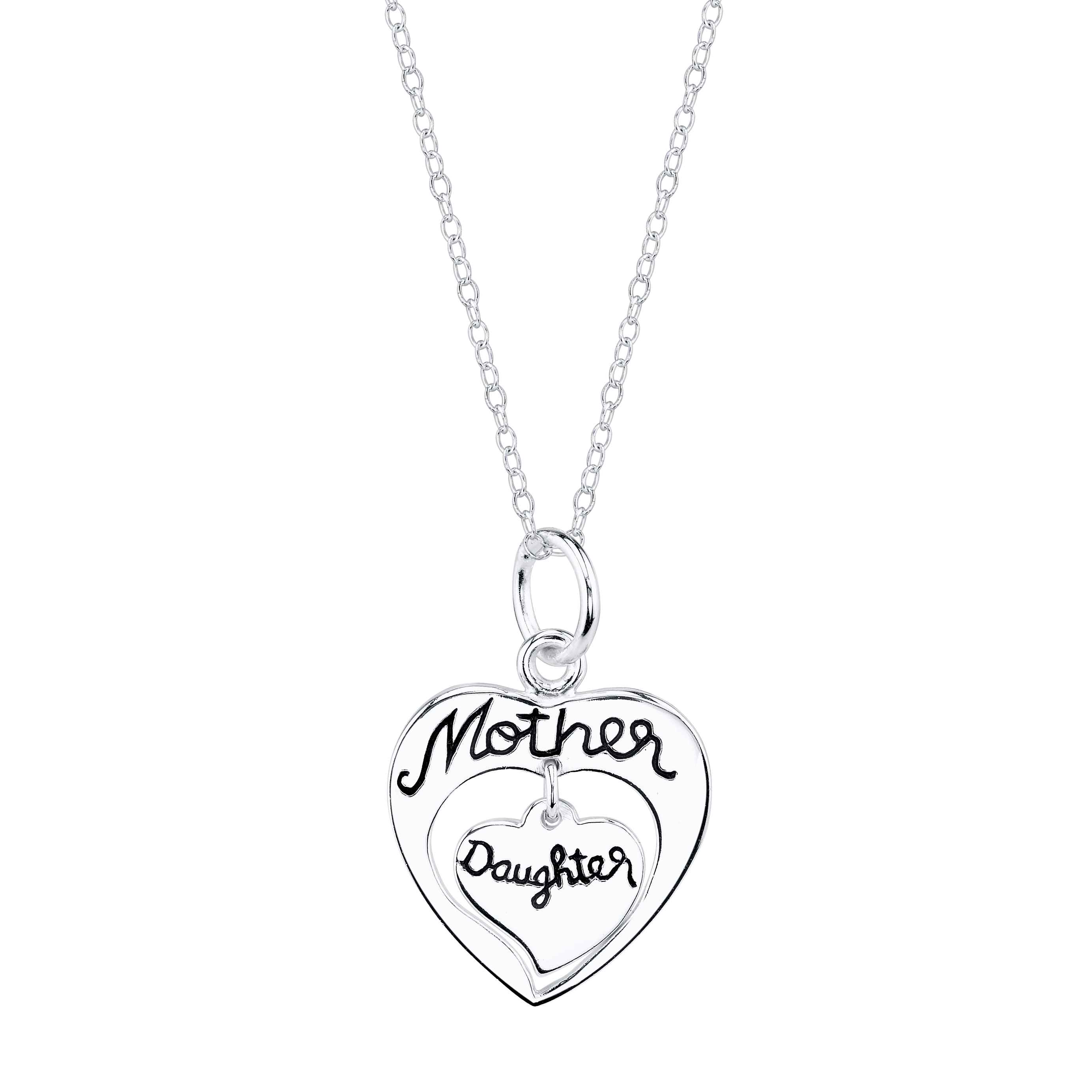 2769x2769 Sterling Silver Mother Daughter Heart Necklace