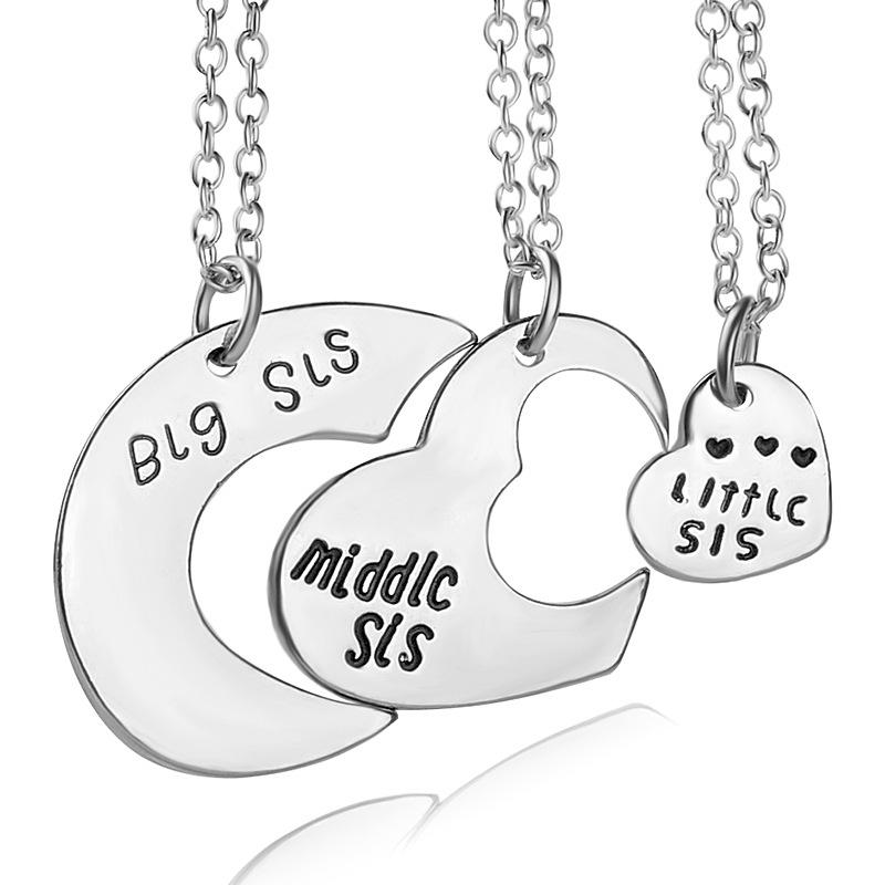 800x800 Wholesale Big Middle Sis Little Sister Letter Heart Necklace Brief