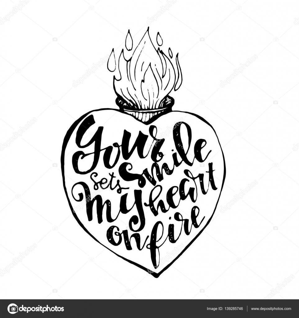 963x1024 Hand Drawn Heart Filled With Lettering Stock Vector