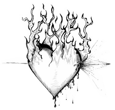 380x365 Heart With Fire Awesome Heart Drawings [ Art Manipulation