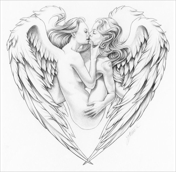 585x570 Angel Wings Drawings Free Amp Premium Templates