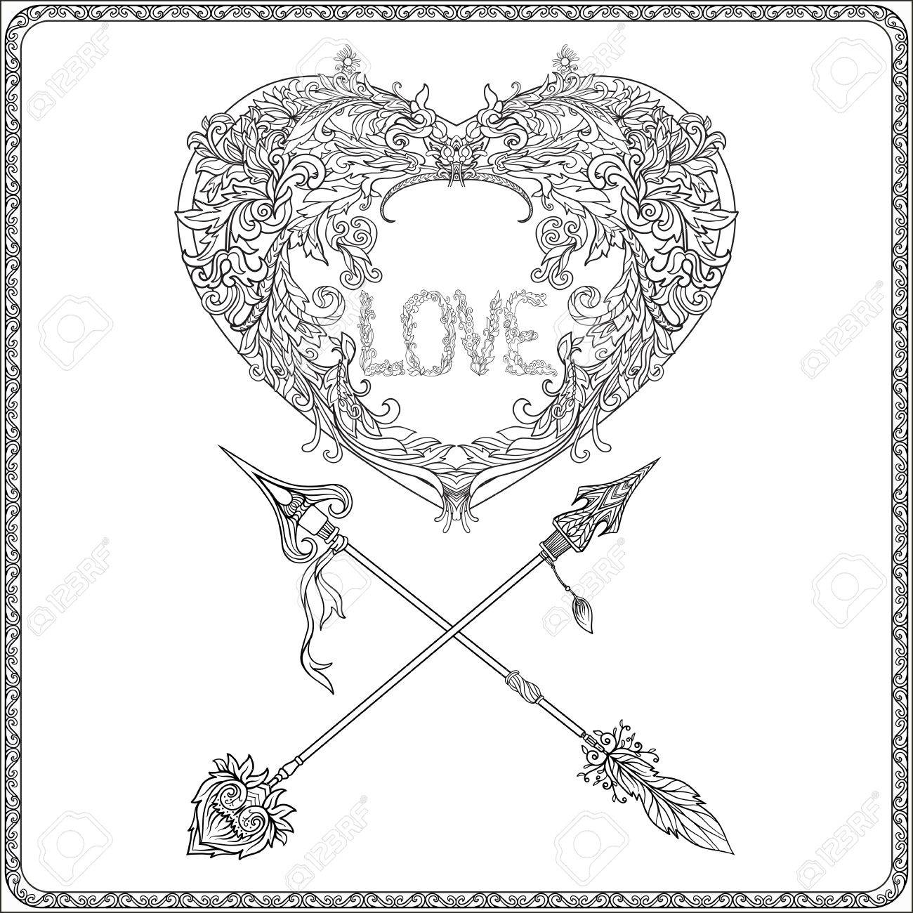 1300x1300 Decorative Love Heart With Decorative Arrows In Rococo, Victorian