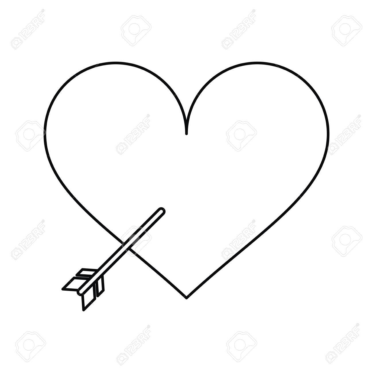 1300x1300 Heart With Arrow Love Symbol Outline Vector Illustration Eps