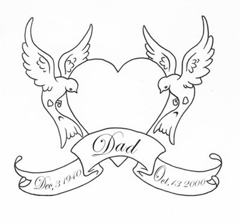 800x744 Outline Heart Swallows Birds With Banner Tattoo Design