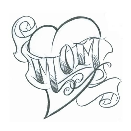 500x500 Simple Sketch Of Love Heart Mom Text Tattoo