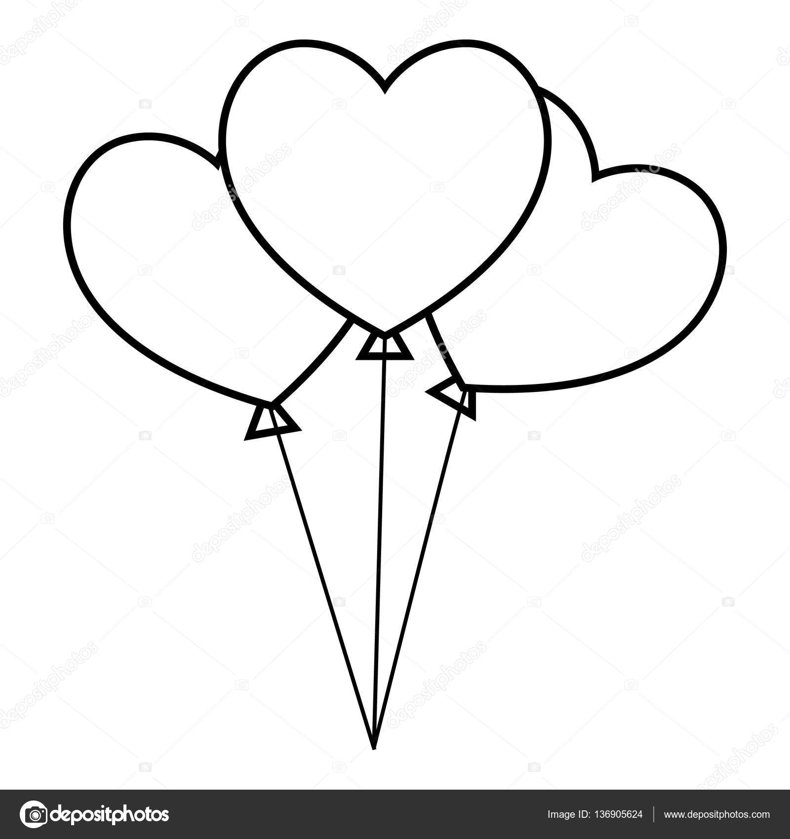 1600x1700 Three Hearts Icon, Outline Style Stock Vector Ylivdesign