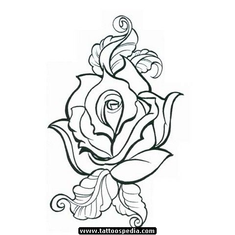 480x480 Collection Of Heart Rose Outline Tattoo Design
