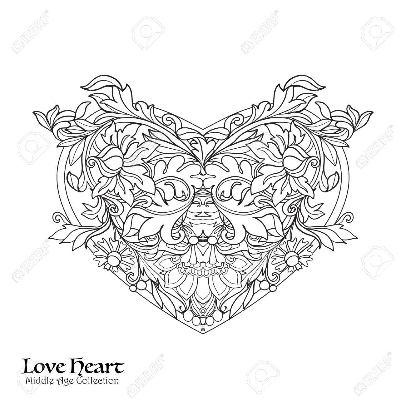 1300x1300 Decorative Love Heart In Rococo, Victorian, Renaissance, Baroque