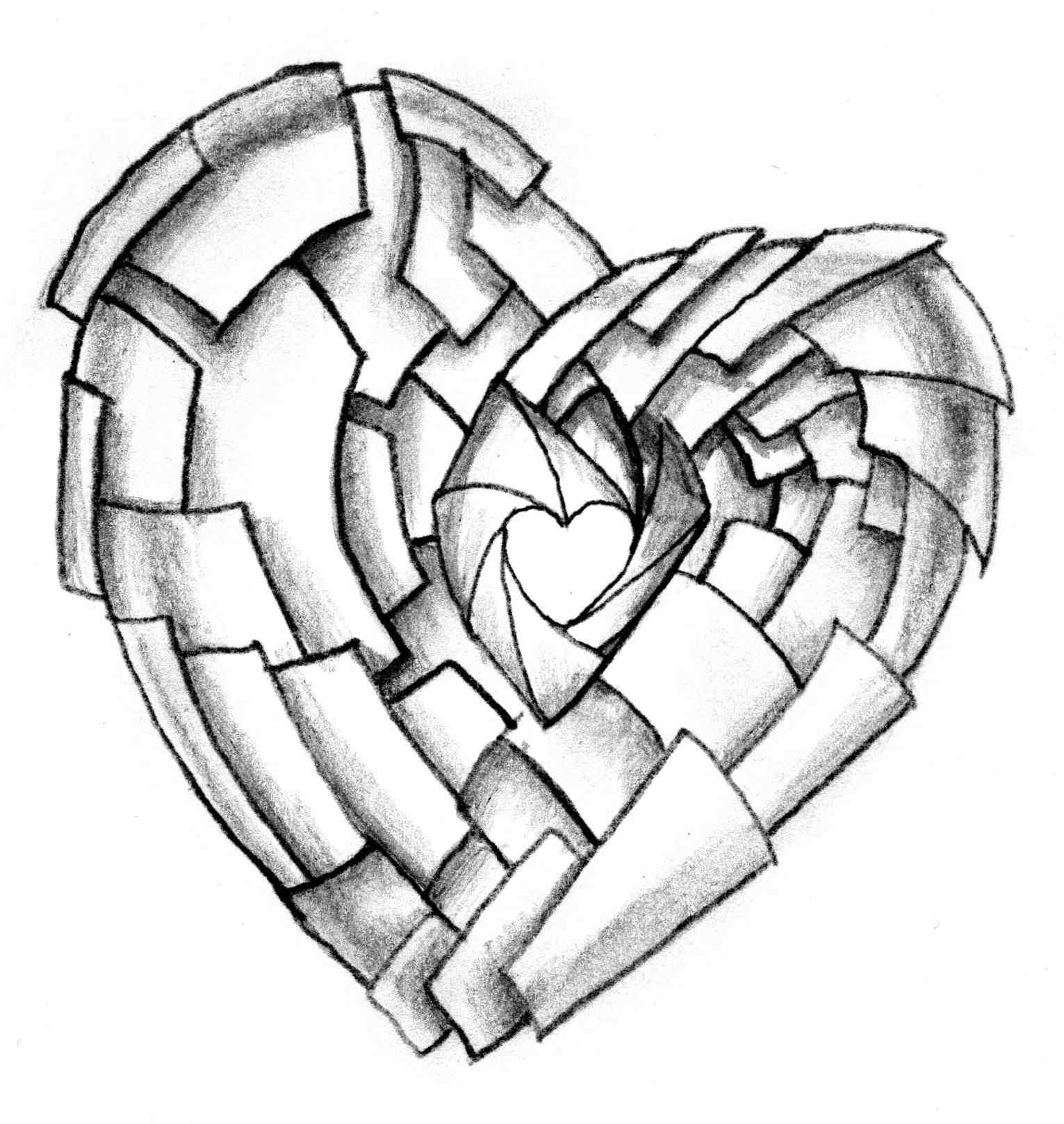 1531x1618 Love Heart Pencil Drawing