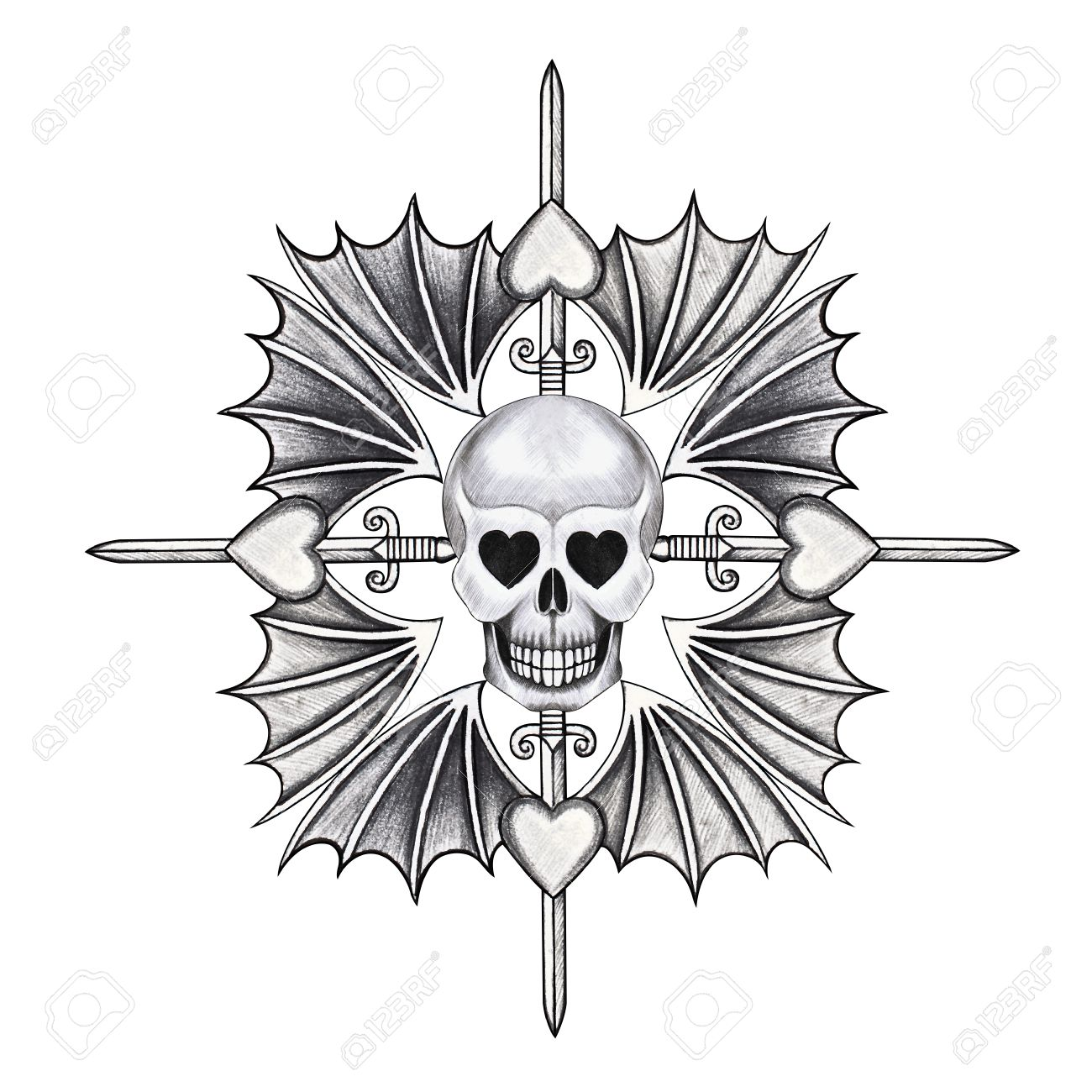 1300x1300 Skull Mix Heart Wing Tattoo Hand Pencil Drawing On Paper Stock