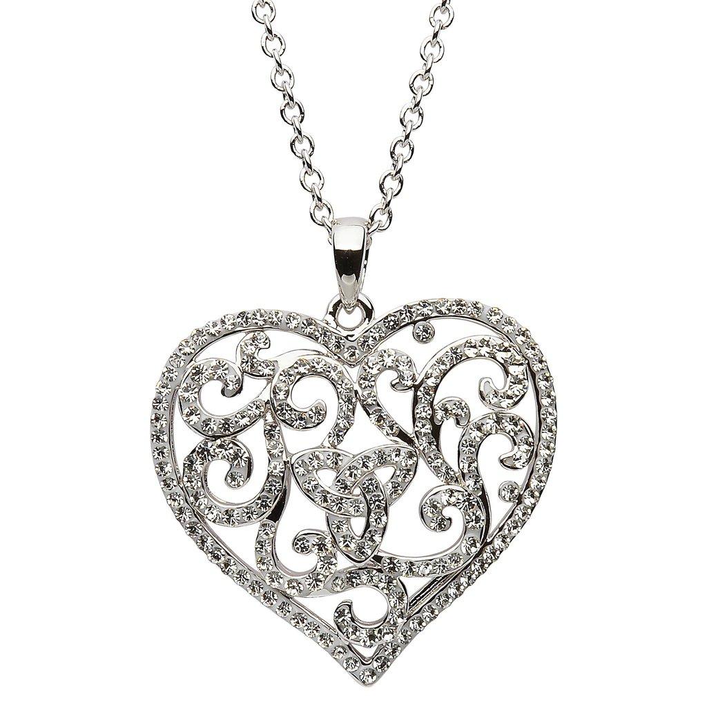 1024x1024 Scrollwork Heart Amp Trinity Knot Necklace W Swarovski Crystals By