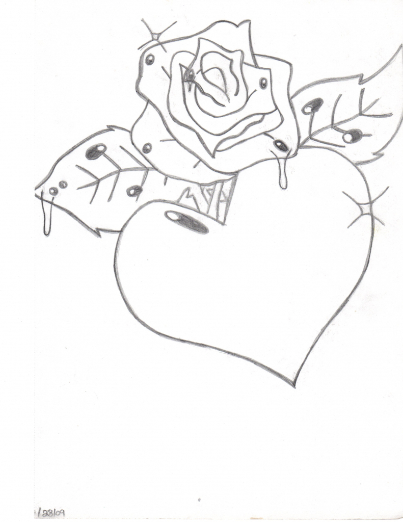 Heart Rose Drawing