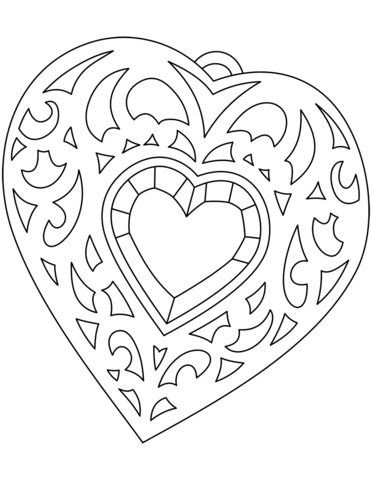 371x480 Heart Shaped Medallion Coloring Page Free Printable Coloring Pages