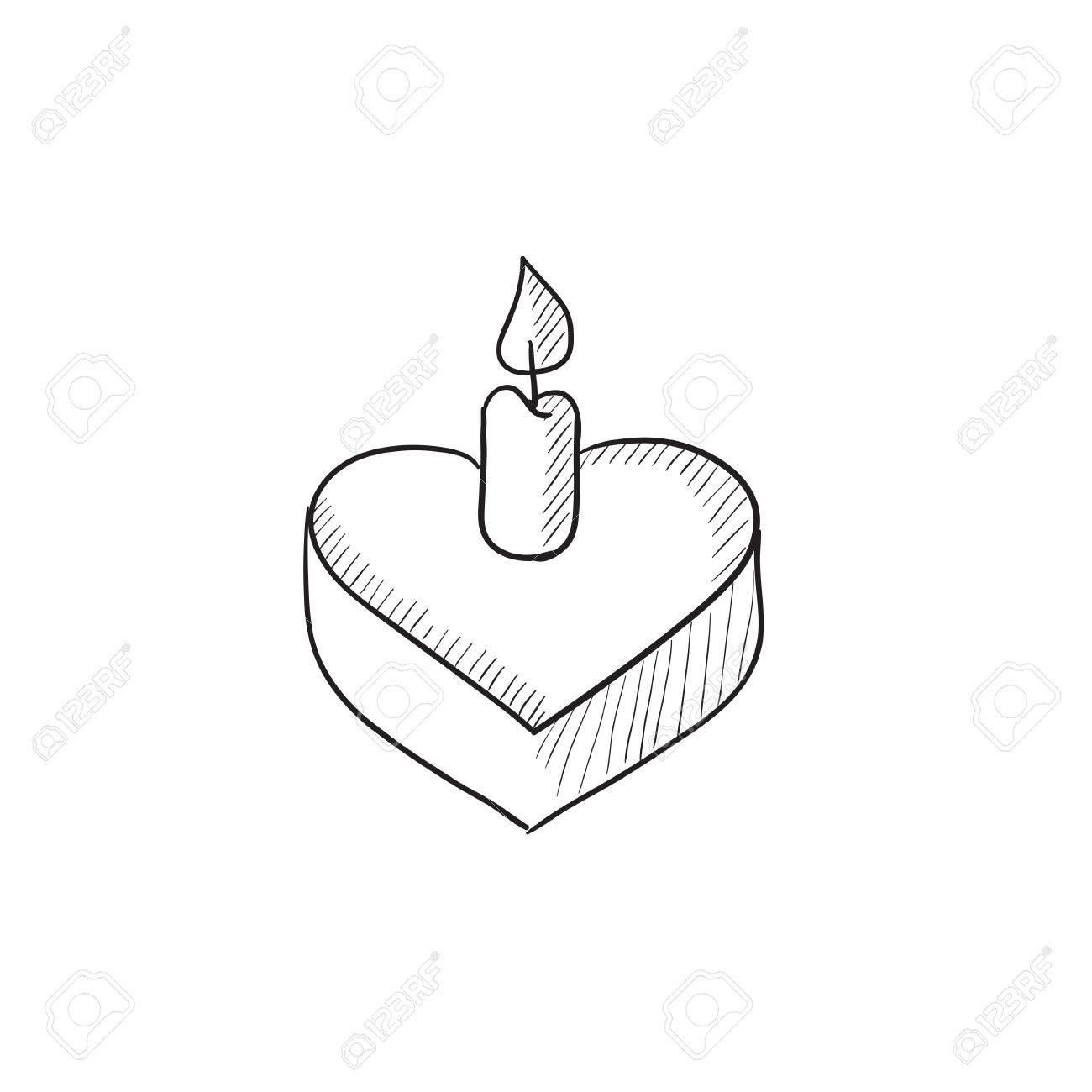 1300x1300 Heart Shaped Cake With Candle Vector Sketch Icon Isolated