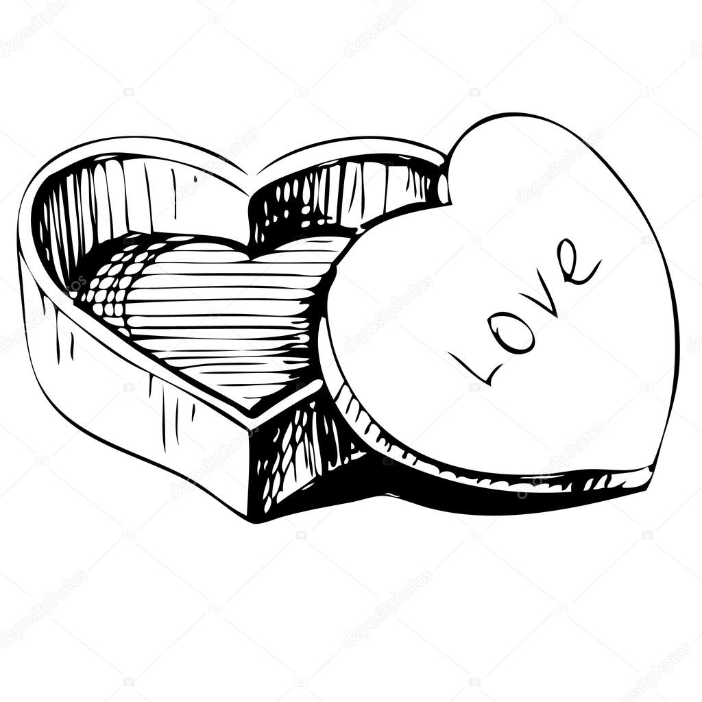 1024x1024 Heart Shaped Box Icon Isolated On White Background. Hand Drawing