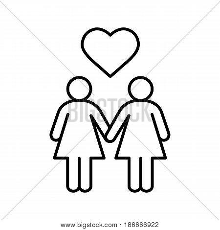 450x470 Lesbian Couple Linear Icon. Thin Vector Amp Photo Bigstock