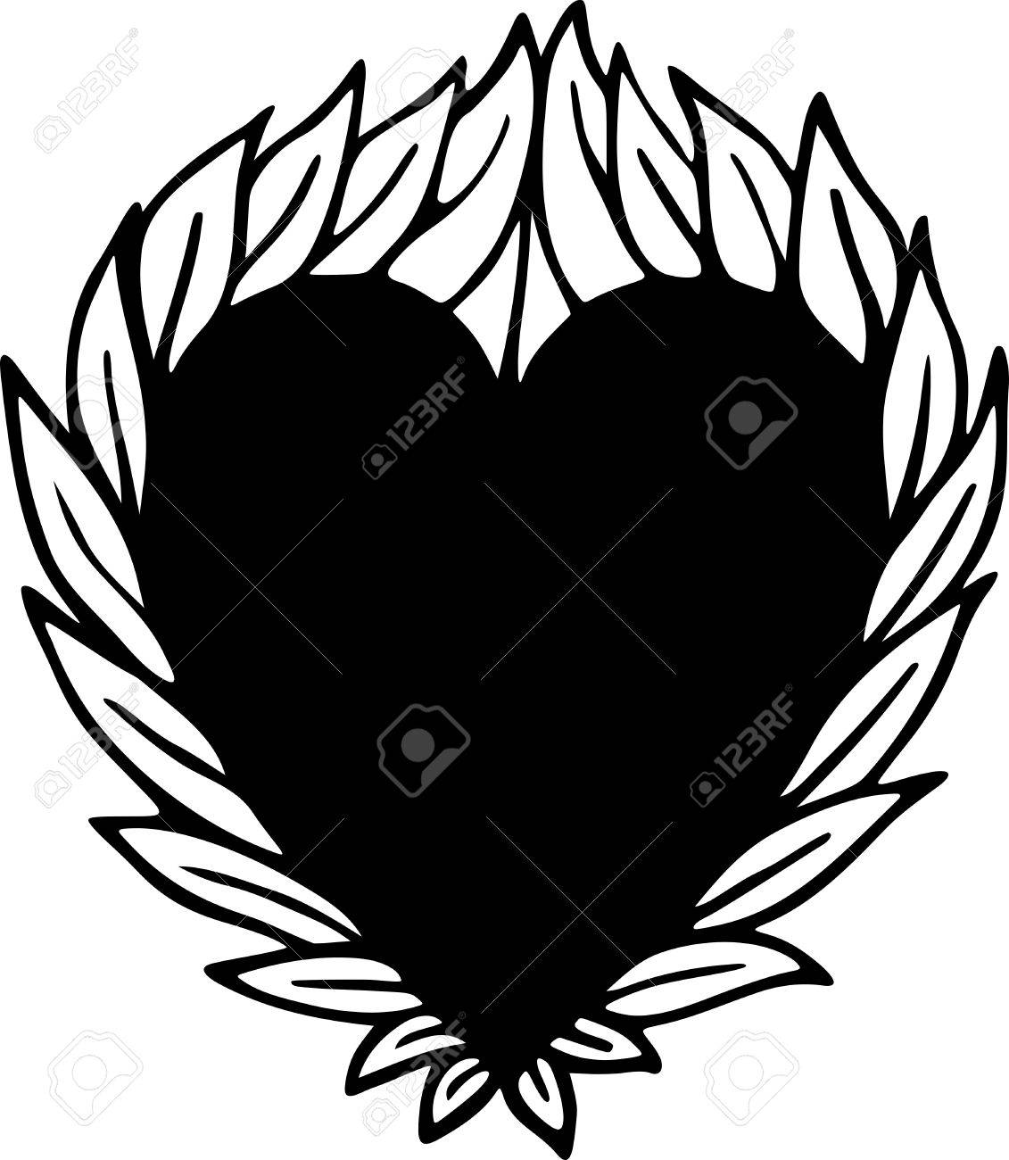 1131x1300 Simple Black And White Line Drawing Of A Heart Shape Surrounded