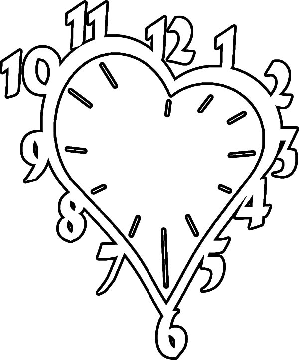 600x722 Valentines Heart Shaped Clock Coloring Pages Best Place To Color