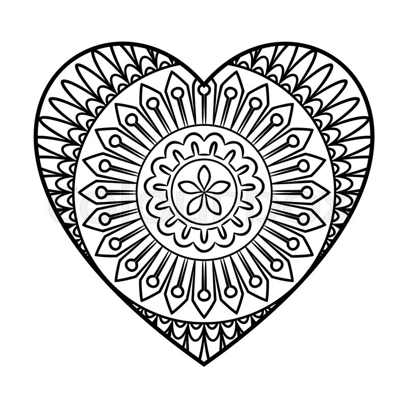 800x800 Doodle Heart Mandala Coloring Page Outline Floral Design Element