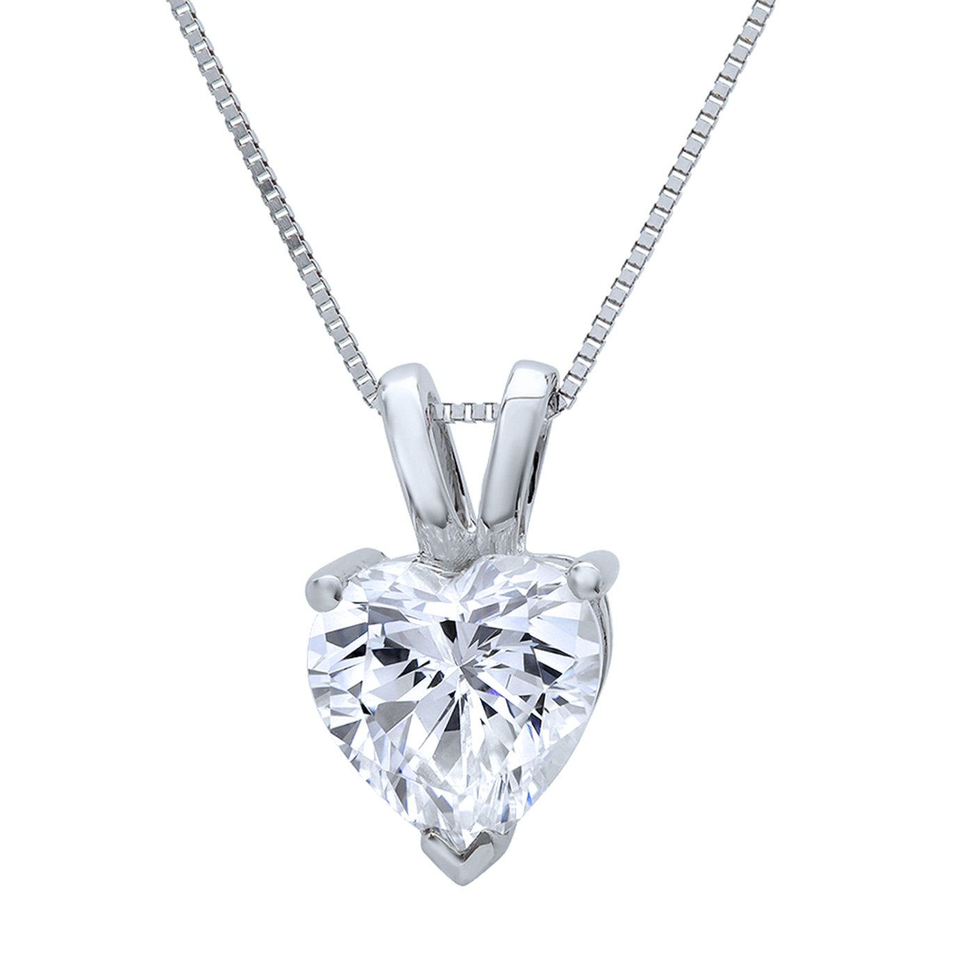 1400x1400 1.50ct. Heart Pendant Solid 14k White Gold Simulated Diamond