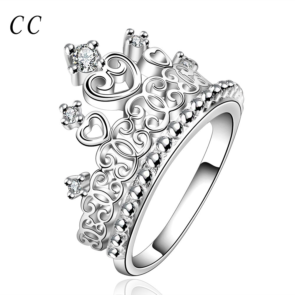 1000x1000 Elegant Noble Crown Shape White Created Rings For Women Silver