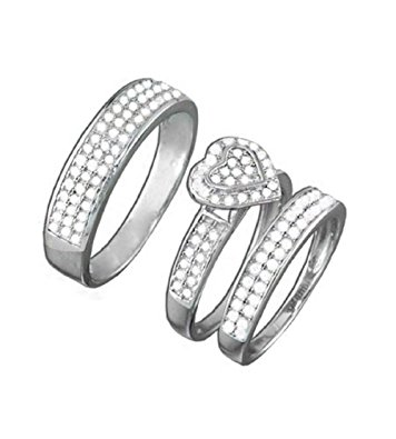 356x395 925 Sterling Silver Cz Diamond Heart Shaped Pave Wedding Ring Trio